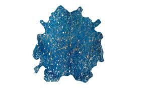 Kuhfellteppich Glam 410 in blau-gold, ca. 1,35 qm