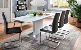Stuhlgruppe Viano/Hanjo in weiß/grau