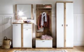 Garderobenkombi weiß, Absetzung Kunststoff balkeneichefarbig