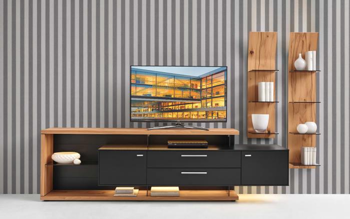 wohnwand mediaconcept in seidenmatt schwarz wildkernbuche natur online bei hardeck kaufen. Black Bedroom Furniture Sets. Home Design Ideas