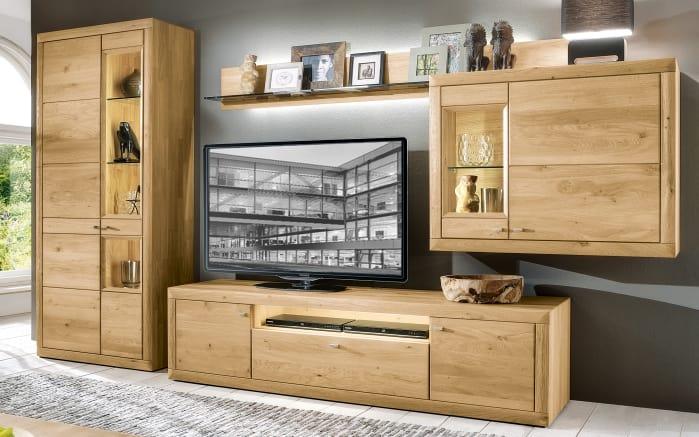 Wohnwand aurum in wildeiche massiv online bei hardeck kaufen for Wohnwand modern massiv