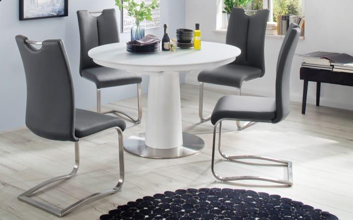 Stuhlgruppe Artos 2/ Waris in Leder schwarz/Glas matt weiß