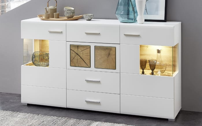 Sideboard Fun Plus In Matt Weiss Eiche Altholz Optik Online Bei