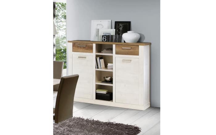 Highboard Duro in Pinie-Optik weiß/Eiche-Optik antik