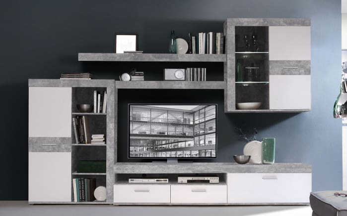 wohnwand in beton nachbildung lichtgrau wei online bei. Black Bedroom Furniture Sets. Home Design Ideas