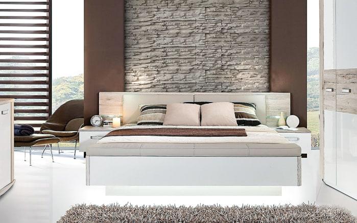 bettanlage rondino in sandeiche optik hochglanz wei. Black Bedroom Furniture Sets. Home Design Ideas