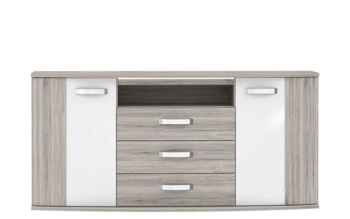 Sideboard Rondino in Sandeiche-Optik/Hochglanz weiß