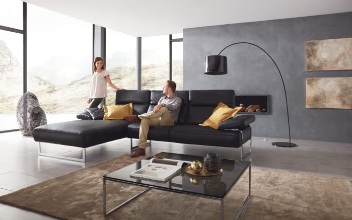 leder wohnlandschaft trovatoore in schwarz online bei. Black Bedroom Furniture Sets. Home Design Ideas