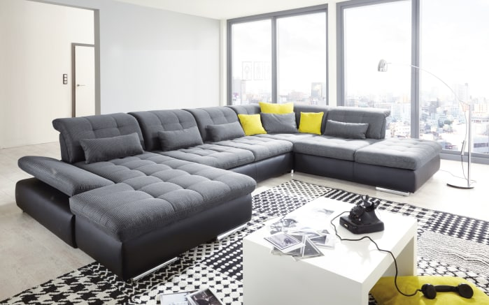 wohnlandschaft arizona in anthrazit schwarz. Black Bedroom Furniture Sets. Home Design Ideas