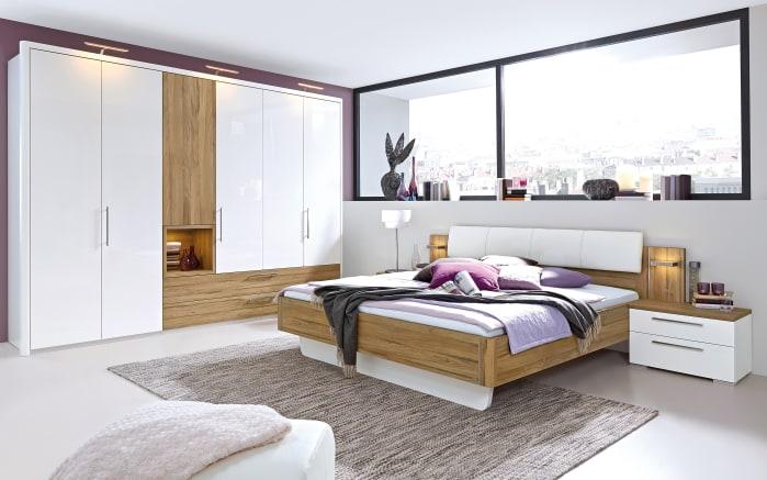 Schlafzimmer Zamaro in bianco weiß Hochglanz/Eiche Volano-Optik