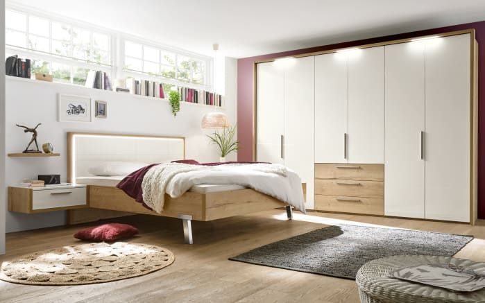 schlafzimmer dakota in lack wei hochglanz eiche silea nachbildung online bei hardeck kaufen. Black Bedroom Furniture Sets. Home Design Ideas