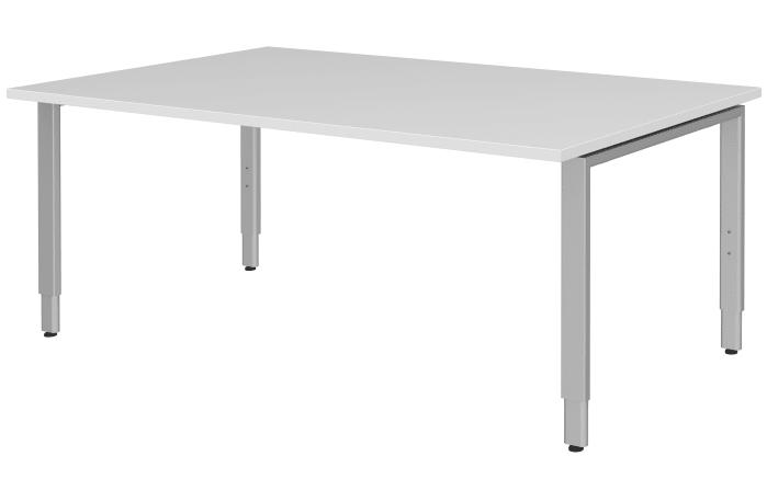 Eckschreibtisch weiß matt  Schreibtisch Techno in weiß Matt/Gestell alufarbig