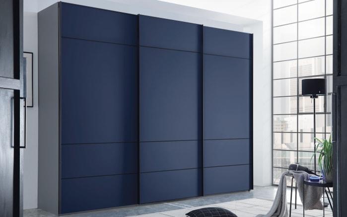 Kleiderschrank Satino-Tresa in vulkan-Optik/blau-Glas Matt