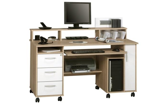 Computertisch in Sonoma-Eiche-Optik/weiß