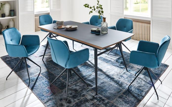 Stuhlgruppe Mood in stahlblau/schwarz