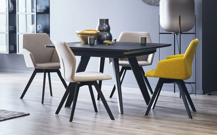 Stuhlgruppe Honey/Extend in schilf/stone/Eiche schwarz lackiert