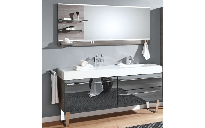 Badeinrichtung Leo Living Bad 109 in graphit/Glas metallic