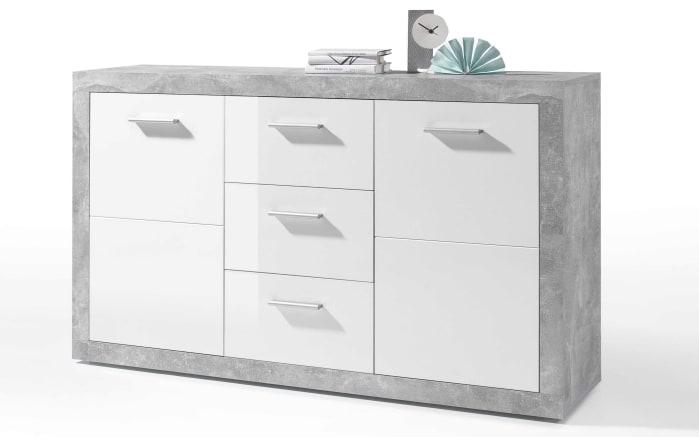 Sideboard in weiß/ Beton-Optik