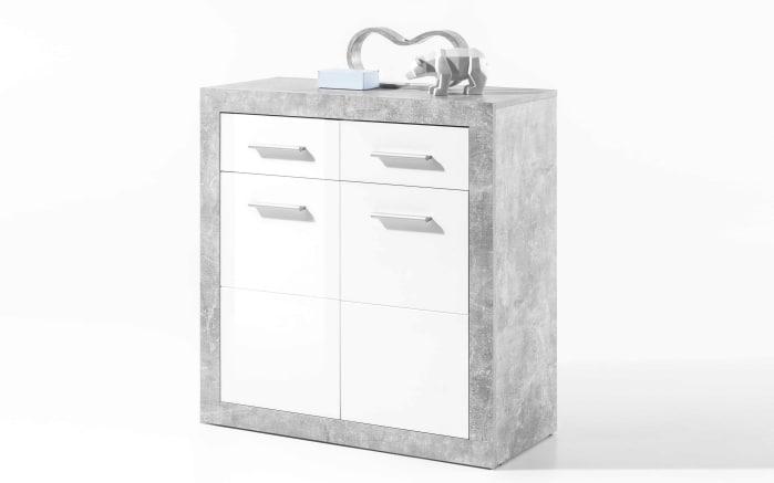 Kommode Stone 1 in weiß/Beton-Optik