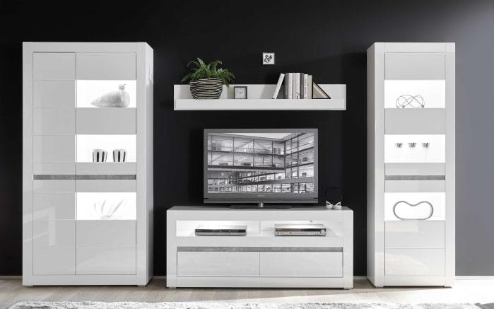 Wohnwand Carat in weiß/Beton-Optik