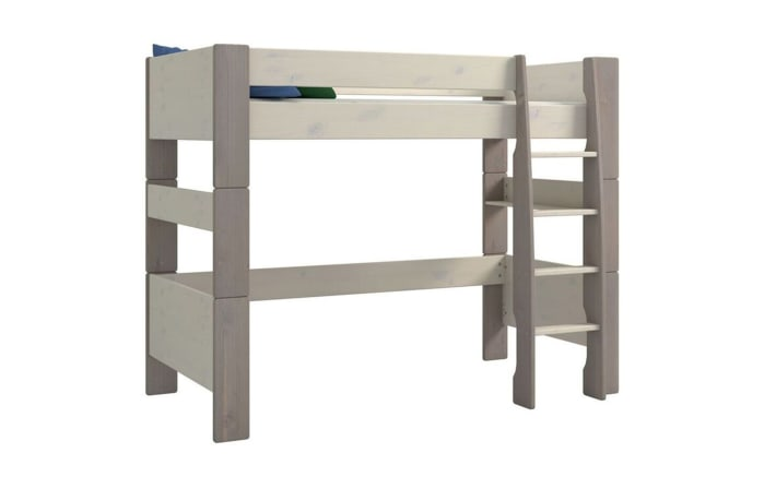 Hochbett Steens for Kids in Kiefer massiv white wash/stone