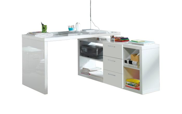 Eckschreibtisch weiß hochglanz  Eck-Schreibtisch 6234 in weiß Hochglanz online bei HARDECK entdecken