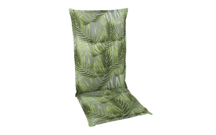 Garten-Sesselauflage Hochlehner in grün mit Motiv Palmen