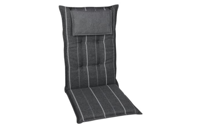 Garten-Sesselauflage in grau gestreift, Hochlehner