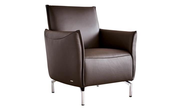 Sessel Vanda in toffee, mit glänzenden Metallfüßen