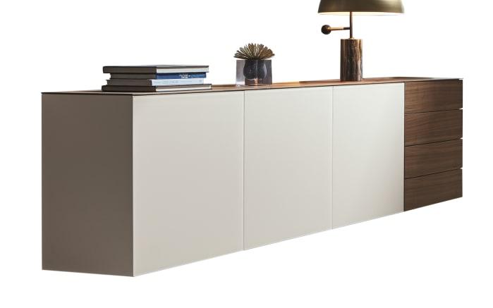 Sideboard WK 430 Majestro in weiß, Nussbaum furniert