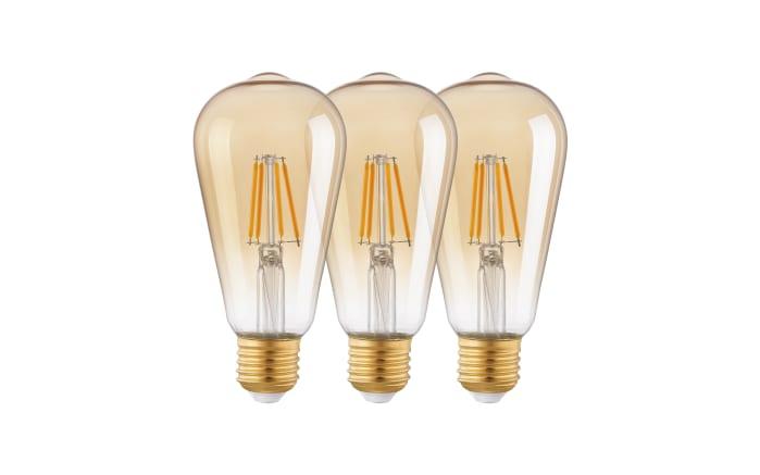 LED-Leuchtmittel Kolben 3er-Set in amber