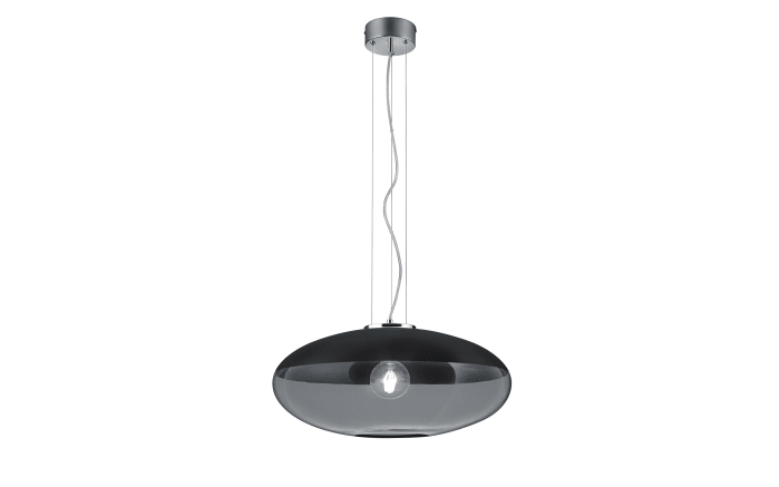 Pendelleuchte Porto in schwarz/rauchfarbig, 55 cm