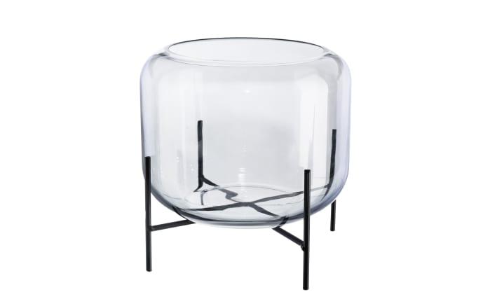 Glas Vase auf Metallfuß in grau, 12 cm