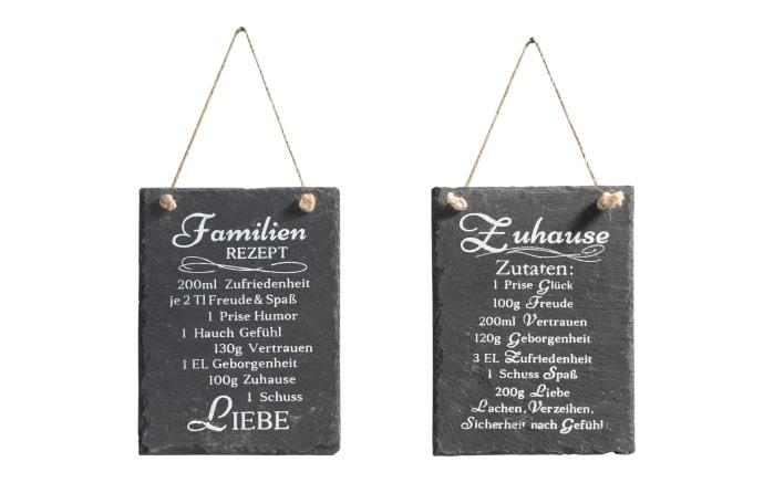 Tafel Schild Rezept Zuhause in Schiefer schwarz, 15 x 20 cm