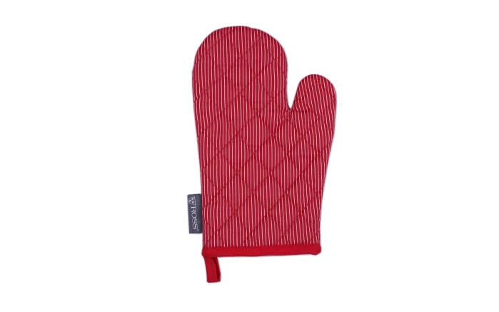 Grillhandschuh in rot mit Nadelstreifen