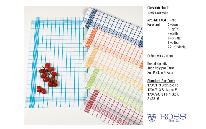 Geschirrtuch in türkisblau, 50 x 70 cm
