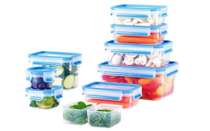 Clip & Close Frischhaltedosen-Set in blau, 9-teilig