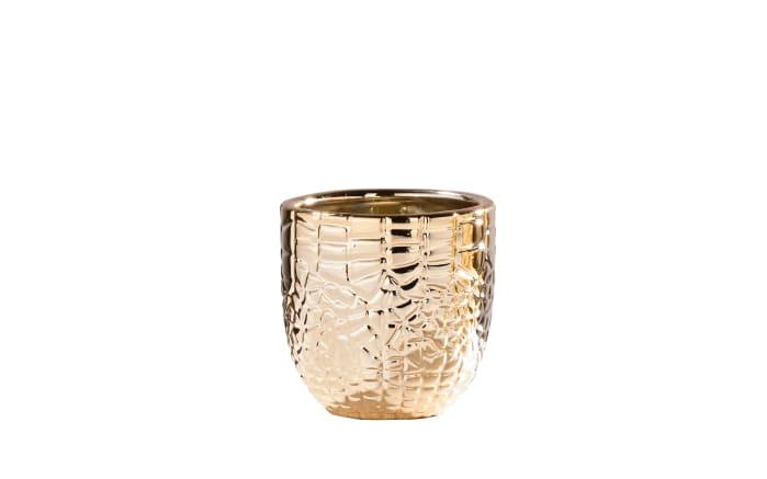 Porzellantopf in gold mit Struktur, 8,5 cm