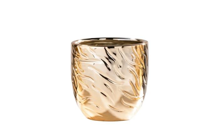 Porzellantopf in gold mit Struktur, 10,5 cm