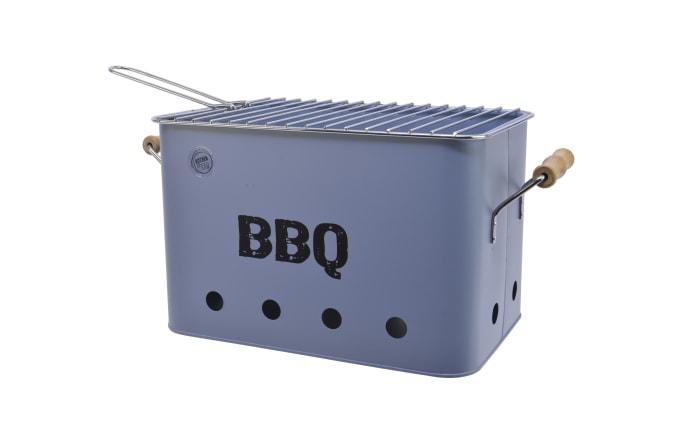 Zink BBQ Grill mit Griff in hellblau, 21 x 32,5 cm