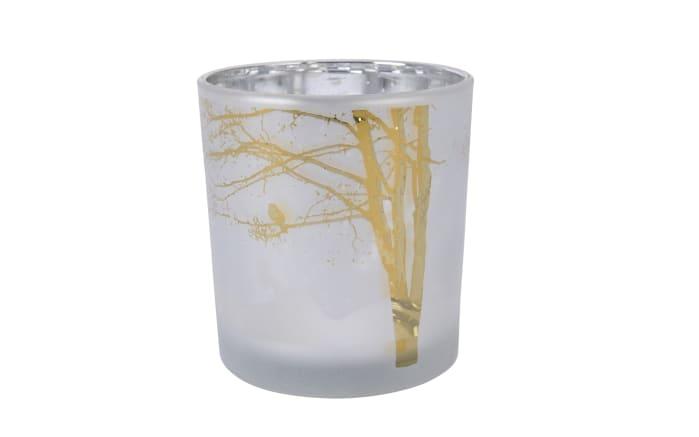 Glasteelicht in winterweiß, 7,3 x 8 cm