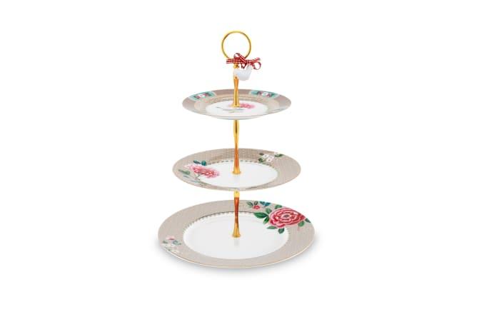 Cake Stand Blushing Birds in khaki, 3-Stöckig