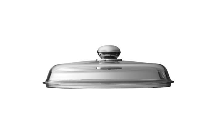 Glasdeckel mit Metallknauf, 28 cm