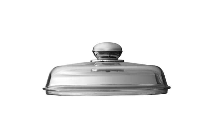 Glasdeckel mit Metallknauf, 24 cm