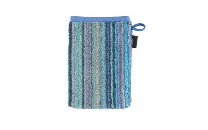 Waschhandschuh Multistripe Two-Tone in blau, 16 x 22 cm