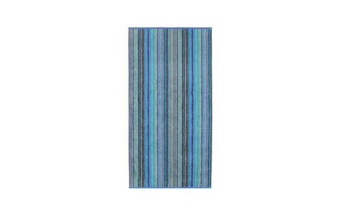 Duschtuch Multistripe Two-Tone in blau, 70 x 140 cm