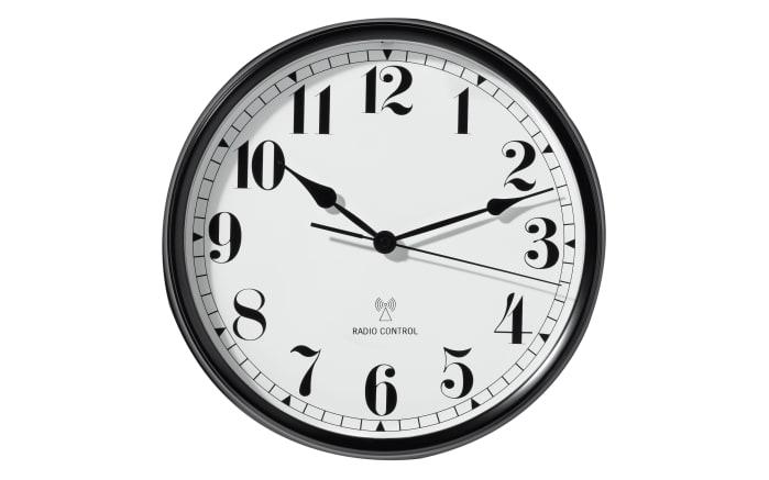 Funk-Wanduhr aus Metall in weiß/schwarz, 36 cm
