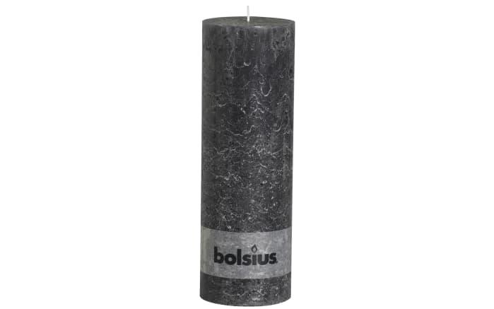 Stumpenkerze Rustik in anthrazit, 30 cm