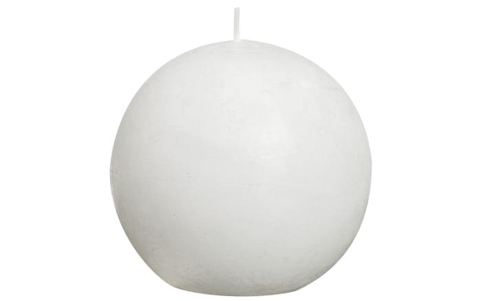 Kugelkerze Rustik in weiß, 8 cm