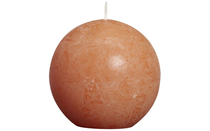 Kugelkerze Rustik in orange, 8 cm